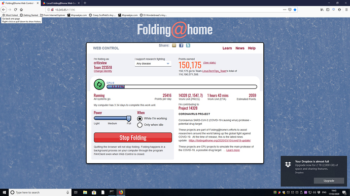 folding at home - on nethserver       - web controle screenshot