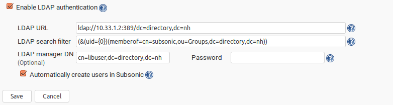 LDAP + Subsonic - Support - NethServer Community