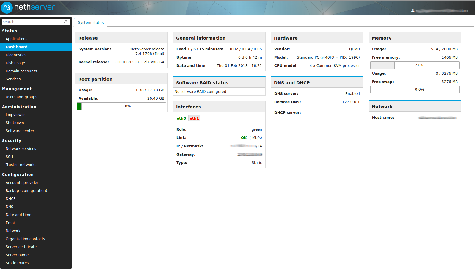 Unresponsive server when installing on a CT on Proxmox 5 1