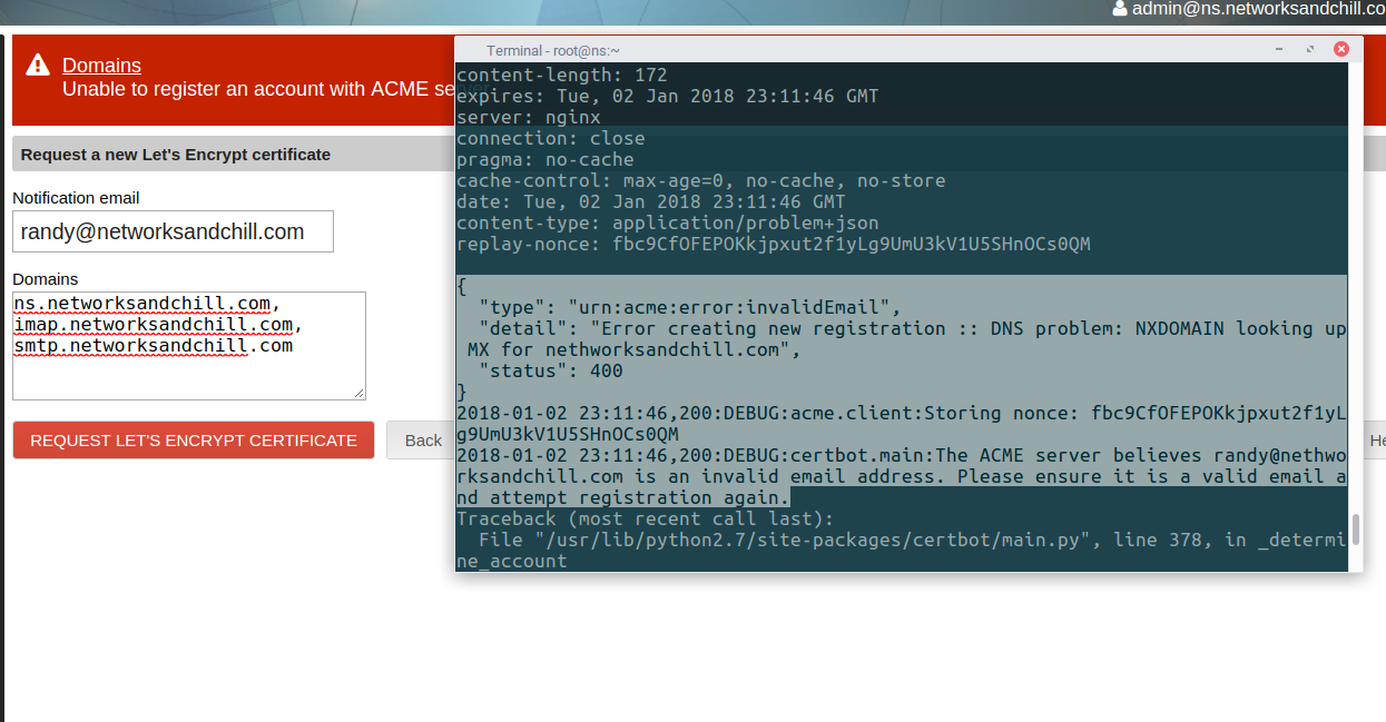 Request Lets Encrypt module broken - Support - NethServer Community