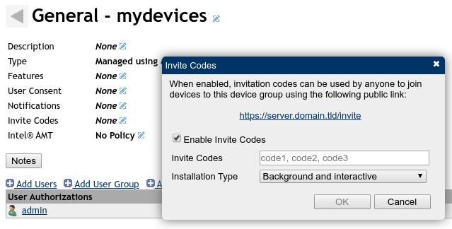 meshcentral - agent invite codes