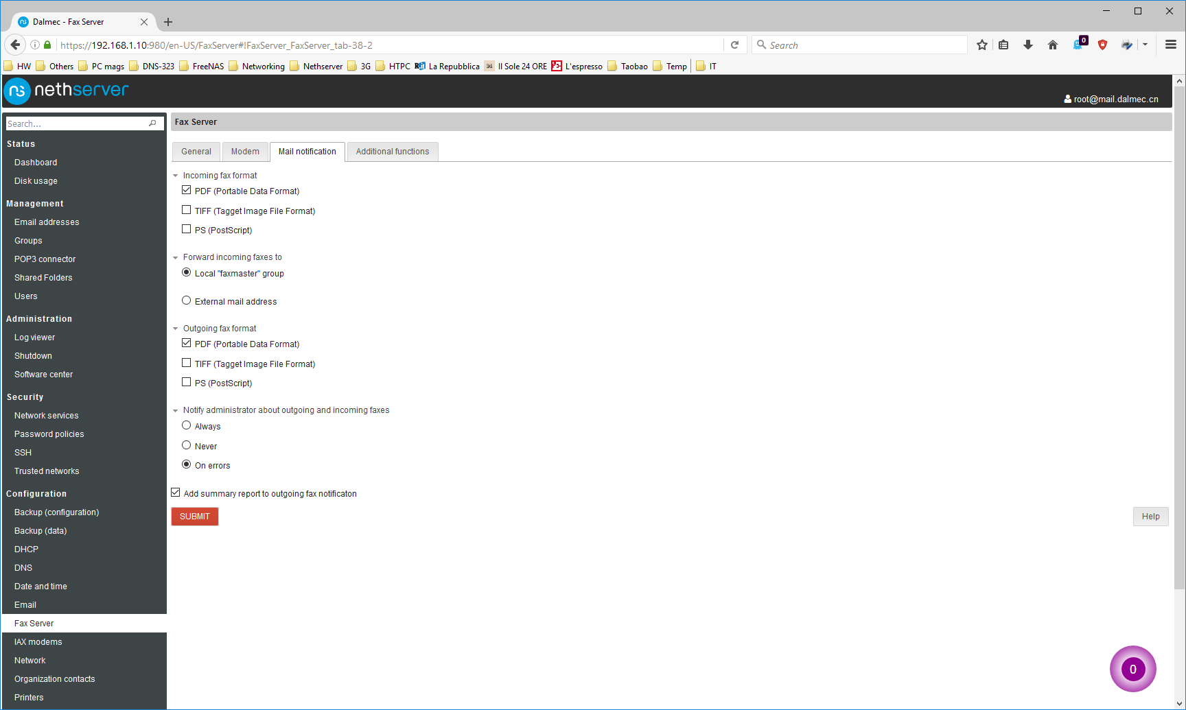 Hylafax configuration bug - Bug - NethServer Community