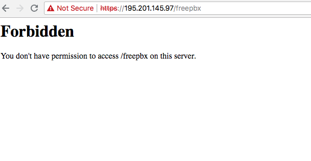 Forbidden You don't have permission to access /freepbx on