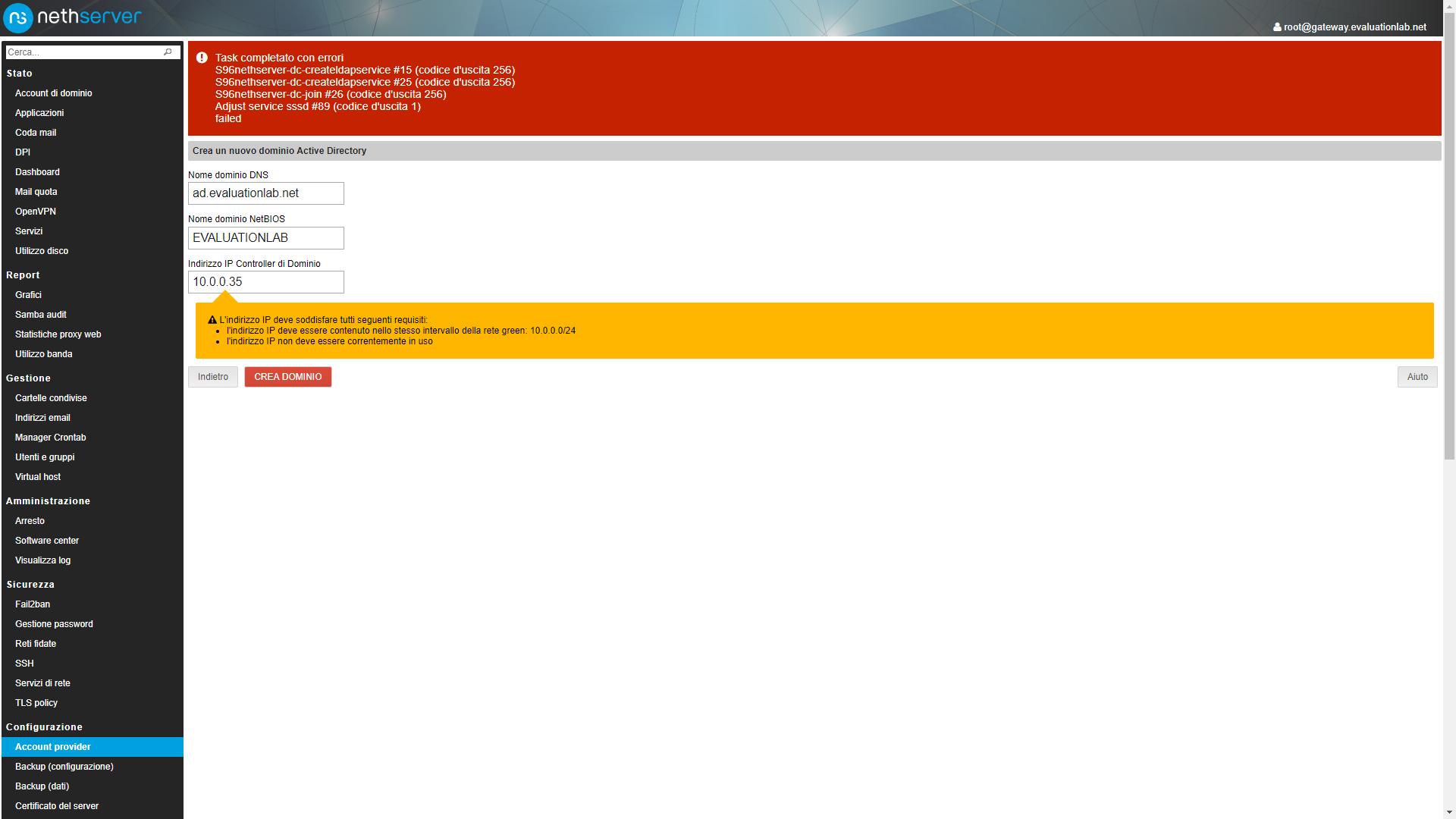 Change LDAP to AD Error - Support - NethServer Community