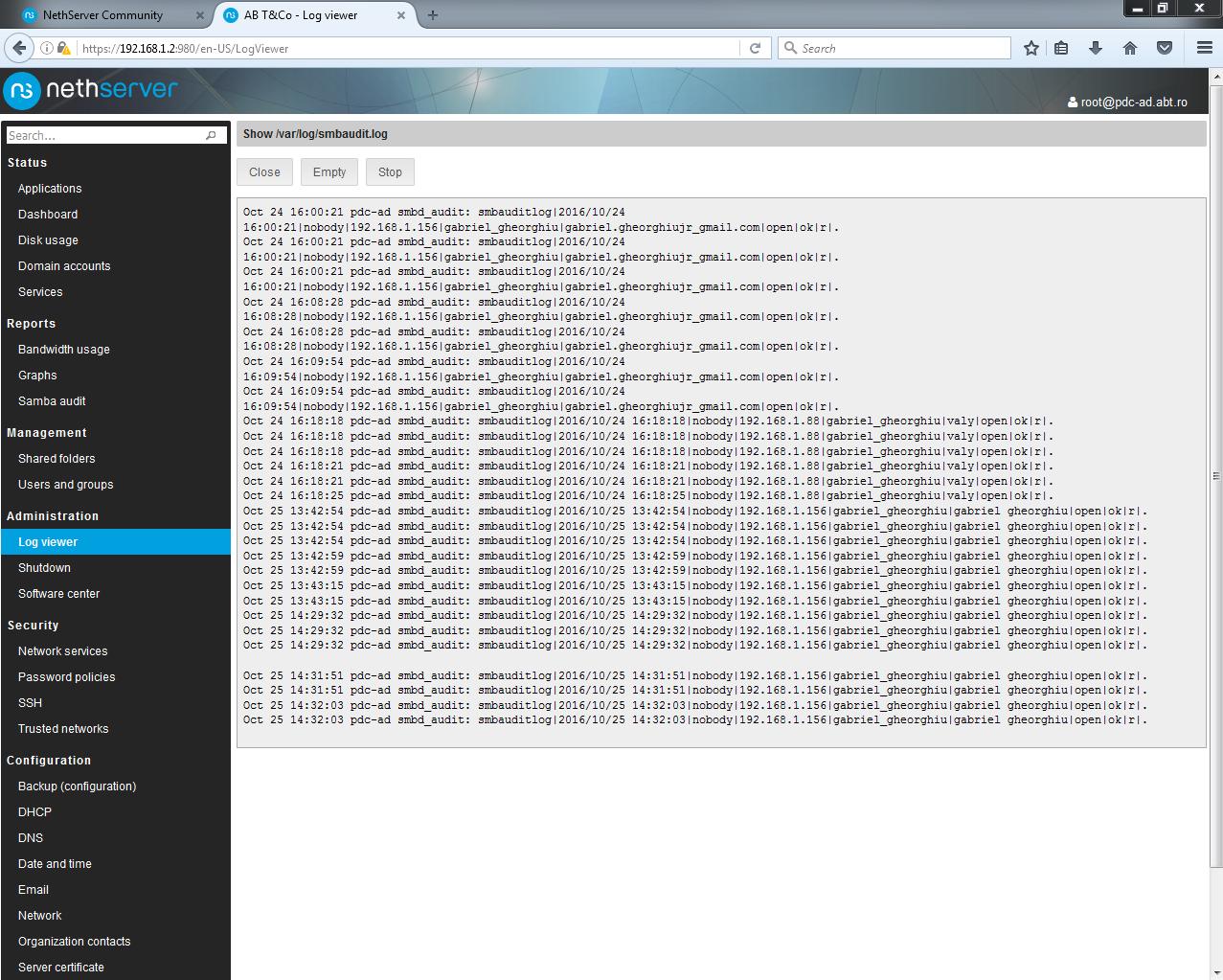 Reports -> Samba audit: no records - Bug - NethServer Community