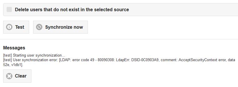 ldap: error code 49 - 80090308