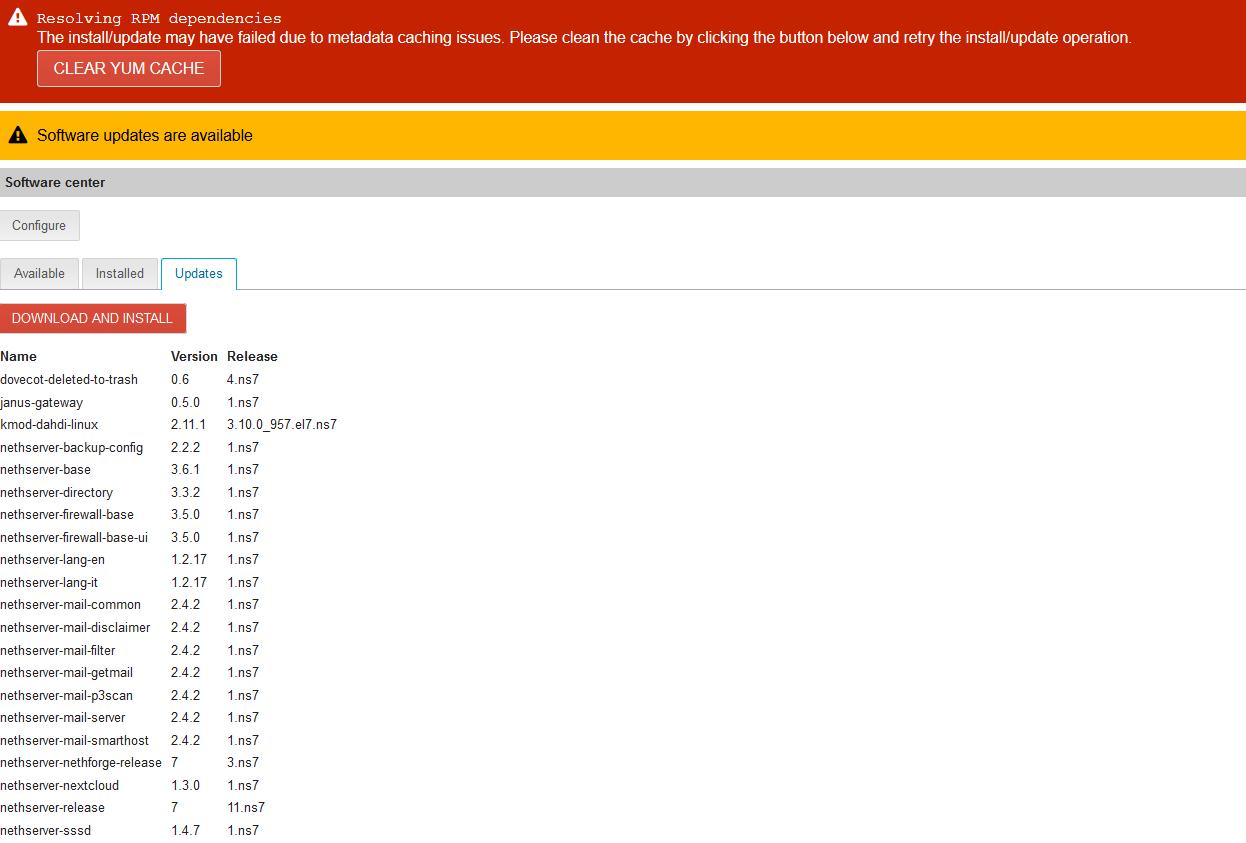 SoftwareCenter Problems (update not working, modules not