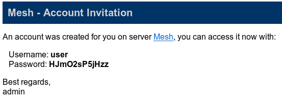 meshcentral - email new account invitation